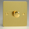 Varilight 1 Gang 1 Way 400W Rotary Dimmer Light Switch Ultra Flat Brushed Brass HFB1